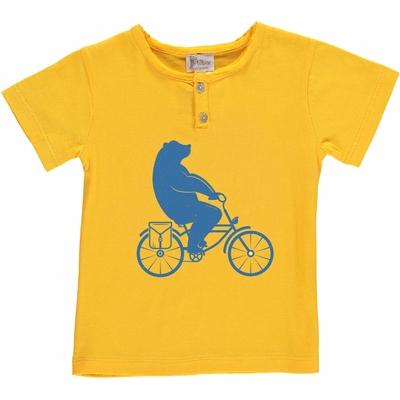 T-shirt jaune - Ours à vélo