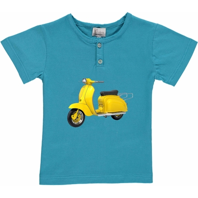 T-shirt turquoise - Scooter jaune