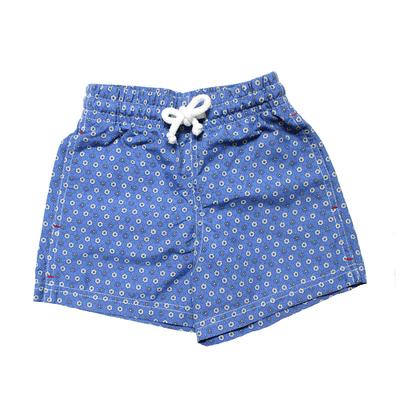 Maillot de bain garçon - Bleu fleurs grises