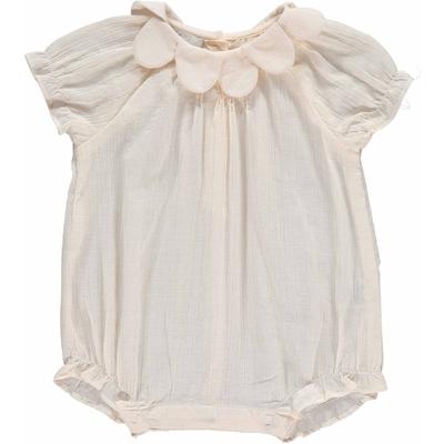 Combinaison bébé Rose - Crêpe Ecru