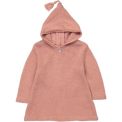Burnous zippé à capuche vieux rose