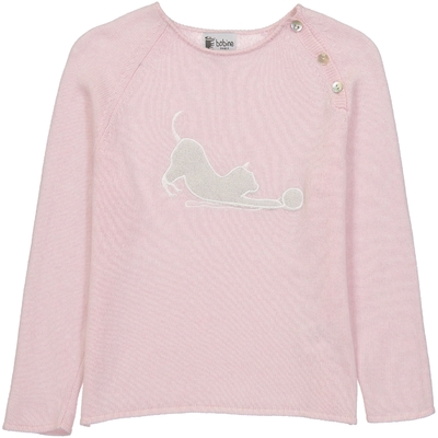 Pull Col Boutonné Chat - Rose