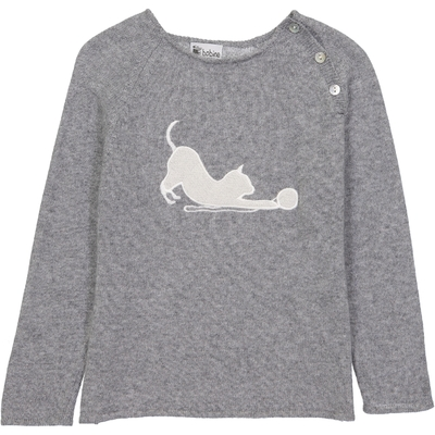 Pull Col Boutonné Chat - Gris