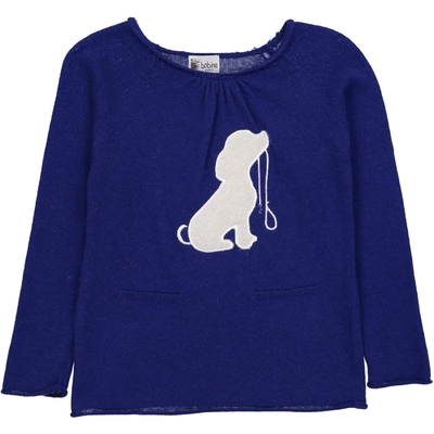 Pull Col Rond Chien - Bleu