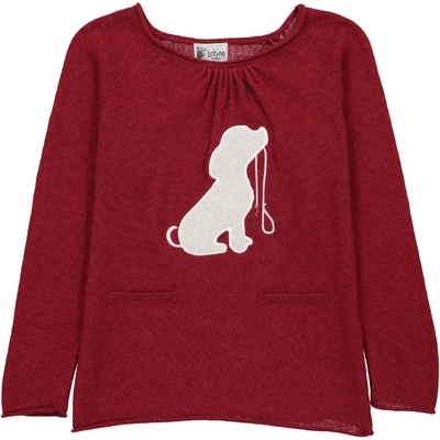 Pull Col Rond Chien - Grenat