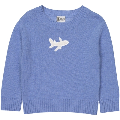 Pull Col Rond Avion - Bleu Jean