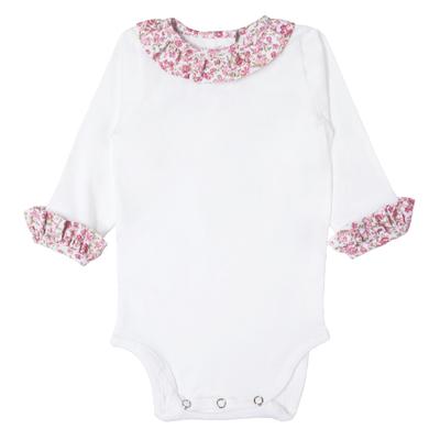 Body Blanc Col Froufrou - Fleurs Rose