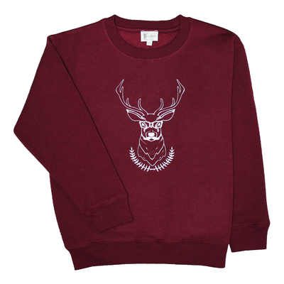 Sweat bordeaux, col rond - Cerf