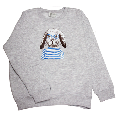 Sweat gris chiné, col rond - Lapin Marin