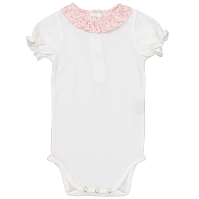 Body Blanc Col Froufrou - Feuilles roses