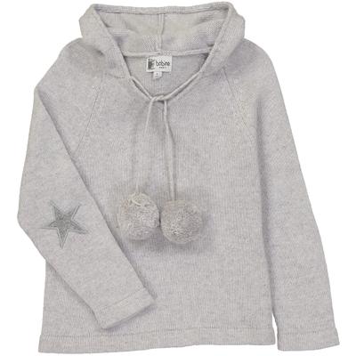 Pull capuche gris perle avec coudière étoile