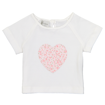 T-Shirt Bébé Coeur - Feuilles Roses