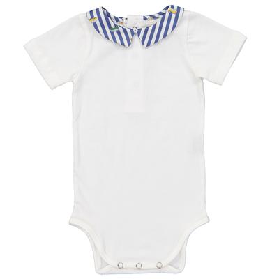 Body Blanc Col Pointu - Rayé Bleu à Motifs Vans
