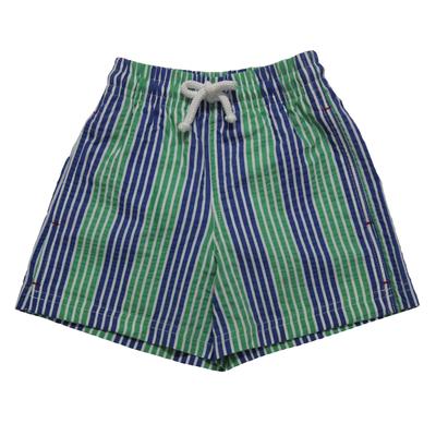 Maillot de bain garçon - Rayures bleu, blanc et vert