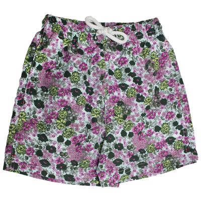 Maillot de bain garçon - fleurs vertes et violettes