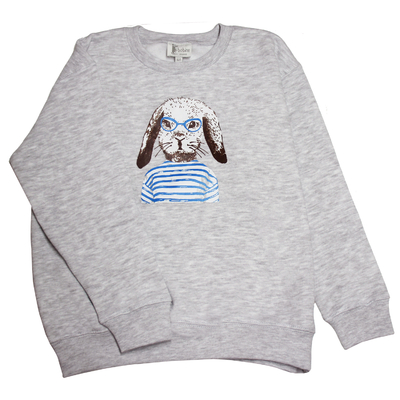 Sweat gris chiné - Lapin Marin