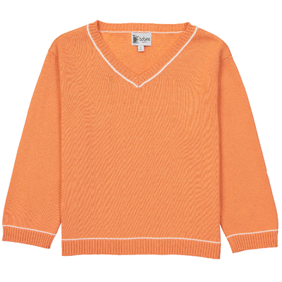 Pull Col V garçon - Orange