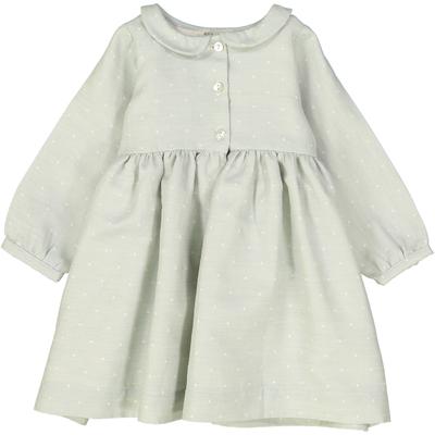 Robe Bébé Claire - Vert Amande à Pois Blanc<br>Disponible uniquement en 12 mois<br>