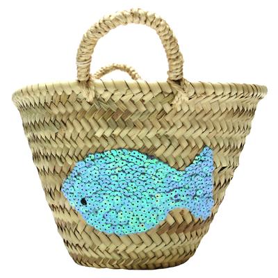 Panier enfant en osier - Poisson sequin bleu