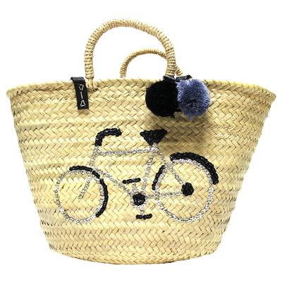 Grand panier femme en osier - Vélo en sequins