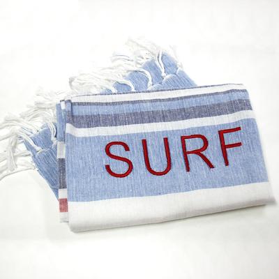 Fouta Bleue, Grise et Rouge Brodée - Surf