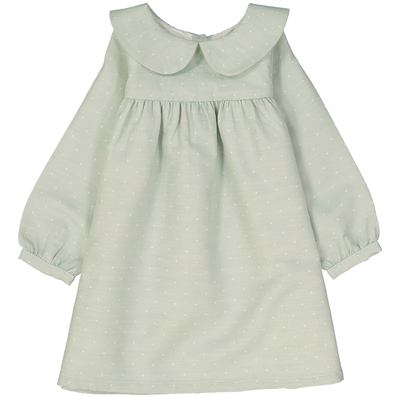 Robe Noélie - Vert amande à pois blanc