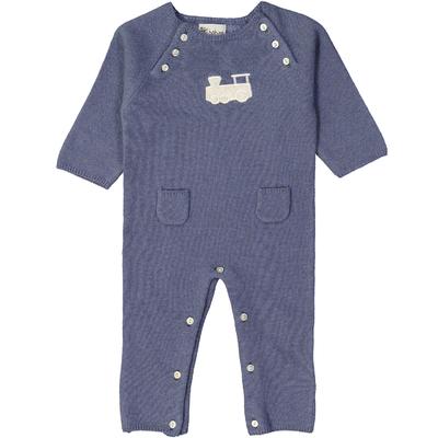 Combinaison bébé - Bleu jean avec écusson train
