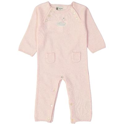 Combinaison bébé - Rose pailleté avec écusson cygne