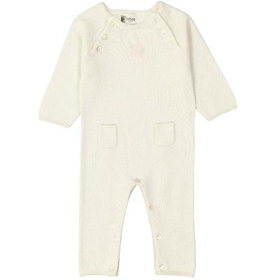 Combinaison bébé - Blanc pailleté avec écusson cœur