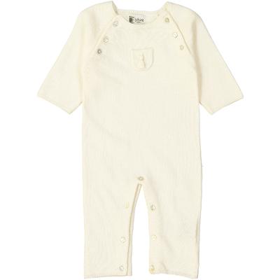Combinaison bébé - Ecru avec poche pompon