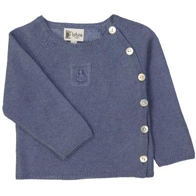 Pull bébé cache-coeur - Bleu jean avec poche pompon