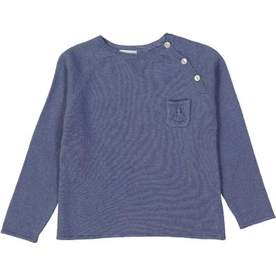 Pull boutonné avec poche pompon - Bleu jean