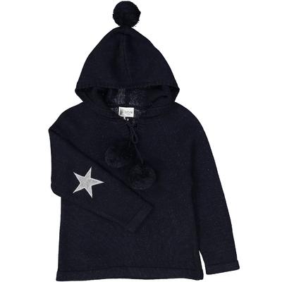 Pull capuche marine pailleté avec coudière étoile