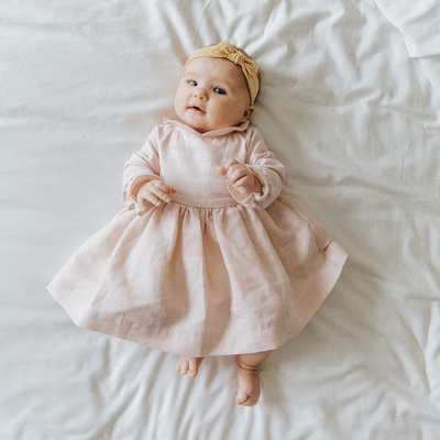 Robe Bébé Suzette - Rose Pâle à Pois Blanc