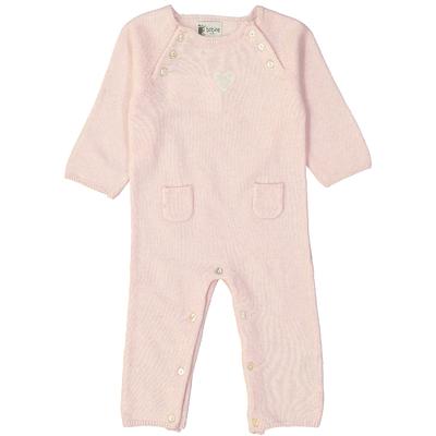 Combinaison bébé - Rose avec écusson coeur<br>Disponible uniquement en 12 mois<br>