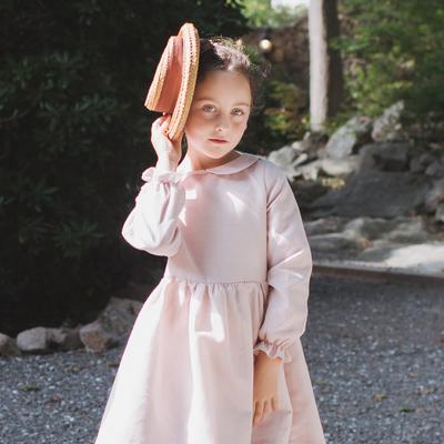 Robe Suzette - Rose pâle à pois blanc