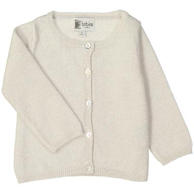 Cardigan bébé - Blanc pailleté<br>Existe uniquement en 6 mois<br>