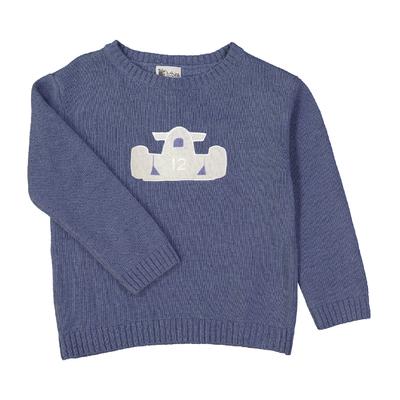 Pull col rond bébé, écusson voiture - Bleu Jean