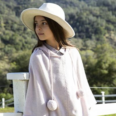 Poncho Fille à Capuche - Rose Pailleté Argent <br> Disponible uniquement en 4/6 ans