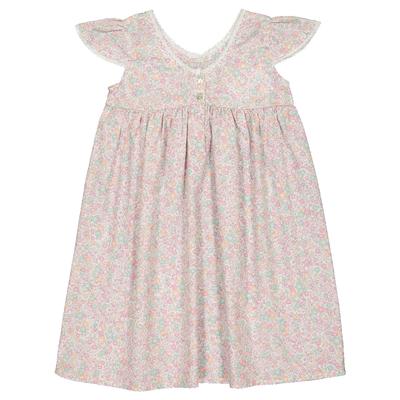 Robe enfant en coton imprimée fleurs pastels