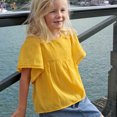Blouse Fille en crêpe jaune<br>Existe uniquement en 2 et 4 ans<br>