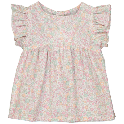 Blouse bébé manches volantées motif fleurs pastels