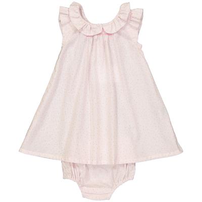 Robe et culotte bébé Alma - Pois dorés