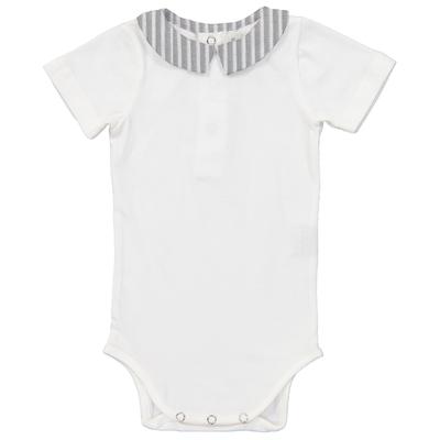 Body bébé col pointu à rayures grises