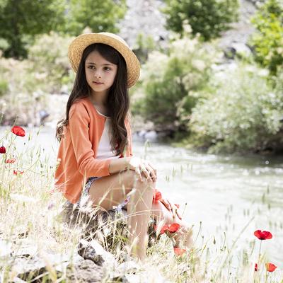 Cardigan enfant fille orange en coton