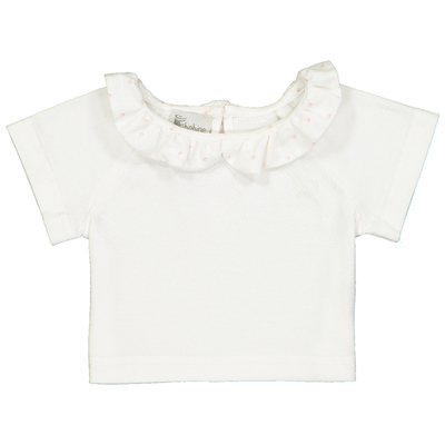T-shirt bébé col froufrou à pois roses