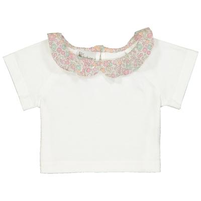 T-shirt bébé col froufrou imprimé fleurs pastels