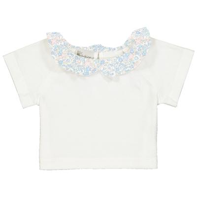 T-shirt bébé col froufrou motif liberty bleu