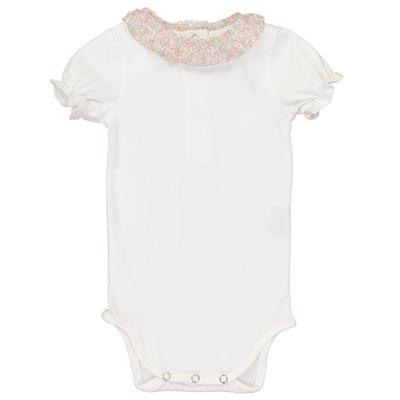 Body bébé col froufrou imprimé fleurs pastels