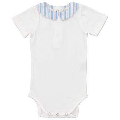 Body bébé col pointu rayé bleu